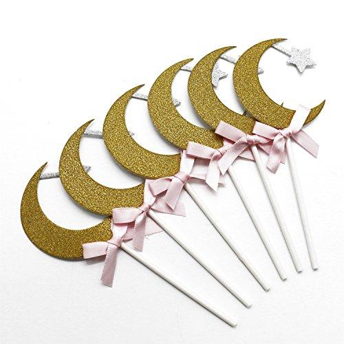 Buorsa 24 Pcs Gold Moon and Star Cupcake Toppers Wedding Birthday Fruit Food Cupcake Picks