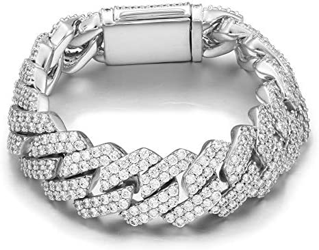 YIMERAIRE Men s 20MM 18K Gold Plated Platinum White Gold Finish Miami Cuban Link Chain Bracelet product image