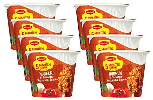 Maggi 5 Minuten Terrine Nudeln in Tomaten-Mozzarella-Sauce, 8er Pack (8 x 55g)