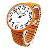 Orange Super Large Face Stretch Band Easy to Read Expansion Band Watch