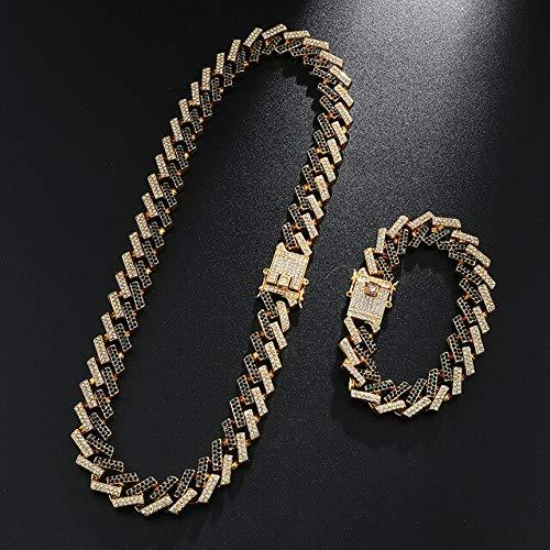 BJGCWY Pulsera de Cadenas para Hombre de Diamantes de imitación pavimentada de Cristal Helado de 15 mm para Hombres joyería 8/16/18/20 / 24in 8 Pulgadas (20 cm) Collar Pulsera 2