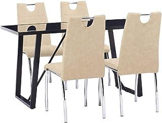 UnfadeMemory Muebles de Comedor Cocina,Conjunto de Mesa y Sillas de Comedor,Sillas de Cuero Sintético 45x60x94cm (Sillas Crema y Mesa Negro, 5 Pzas,Mesa 140x70x75cm)