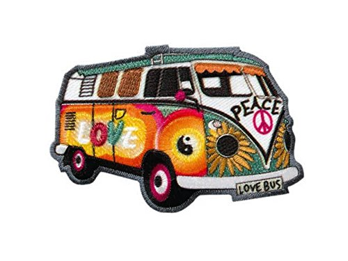 MQ Hippie Bus - Bully - Love Peace - Aufnäher Aufbügler Applikation Patch