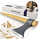 Bladed Throwing Hatchet w/Sheath - Made in USA Axe w/Forged 4140 Steel Head & 100% American Hickory Wood Handle - Small Competition & Survival Tomahawk - Kindling, Camping & Chopping Metal Hand Hawk