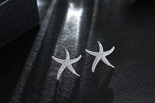 Pendientes exquisitos de estrella de mar con circonita de plata de ley 925, temperamento, no alérgico, dulce personalidad, modernos pendientes de tuerca para mujer, accesorios (color de metal: plata)