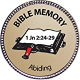 """This silver clutch-back pin has a handsome laminated inlay with a high-resolution """"Abiding (1 John 2:24-29) Bible Memory Silver Award Pin"""" image on an attractive gradient background. And it has clear descriptive detailed text describing the subject. ..."""