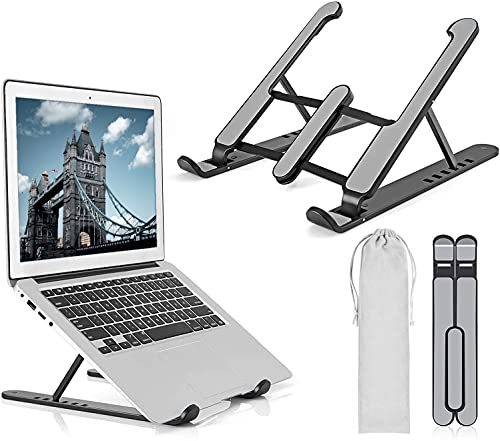 """Laptop Stand, Adjustable Laptop Stand, 6-Levels Laptop Riser for Desk Air-Ventilation Notebook Mount, Compatible with MacBook Air, Pro, Dell, 10-15.6"""", ABS+Silicone (BLACK)"""