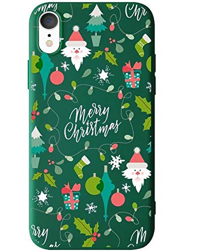 """BLLQ iPhoneXR Case,Christmas Design Lovly Soft Silicone Slim Fit Protect Case Cover for iPhone XR 6.1"""" [XR Green]"""