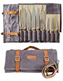 Waxed Canvas Knife Roll Bag - Zelancio Knife Roll Bag with 9 Knife Slots and 4 Additional Pockets for Additional Tools and Accessories, Ultra Portable and Safe/ Fits All Knife Sets
