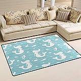 SunsetTrip - Alfombra para sala de estar, dormitorio, diseño de sirena, diseño náutico, suave, lavable, 78,7 x 50,8 cm