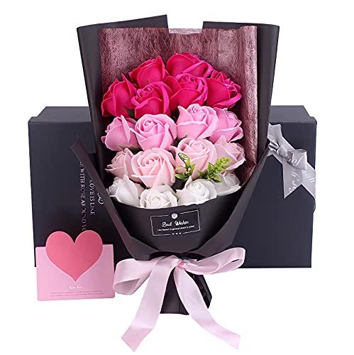 Capiner 笑顔にできるプレゼント ソープフラワー 薔薇 花束 記念日 バラ ギフト 造花 贈り物 お祝い 誕生日 結婚 還暦 母の日 父の日 メッセージカード ショップバッグ付(18本) (ピンクグラデーション)
