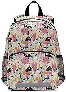 حقائب ظهر للأطفال للأولاد والبنات مع تصميم على شكل قطط صغيرة على الصدر