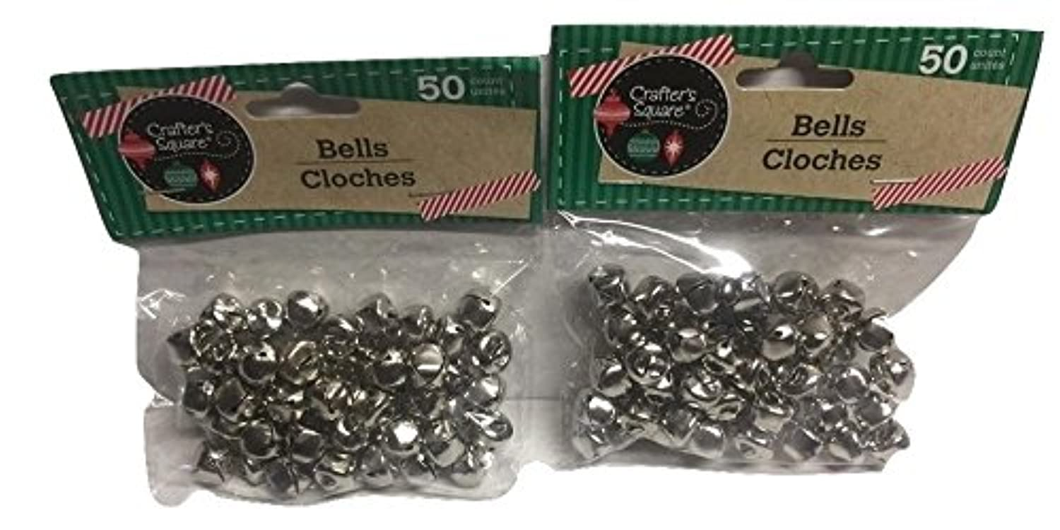 50 Count 12mm Silver Crafter's Square Craft Jingle Bells (Pack of 2)