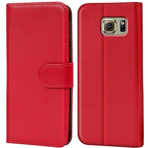 Verco Custodia per Samsung Galaxy S6 Edge, Case per Galaxy S6 Edge Cover PU Pelle Portafoglio Protettiva, Rosso
