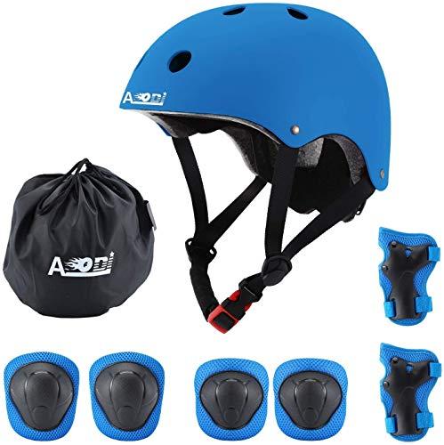 AODI - Juego de Equipo de protección para niños de 3 a 8 años, Casco Ajustable, Rodilleras, Coderas, muñequeras con certificación CE para patineta de Ciclismo Multideporte (Juego de 7 Piezas)