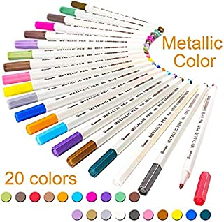 WeyTy Premium Metallic Marker Pen Set, 20 Assorted Colors, for Card Making DIY Photo Album Guestbook Wedding Paper Glass Plastic Stone,Painting Ceramic,Rock and Wood - Fine Tip (1 mm)