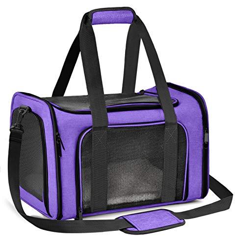 Qlf yuu Transporttasche für Katze Hund, Faltbare Tragebox für Mittel Kleine Haustiere im Flugzeug, Transportbox für Haustiere Mittel Kleine Hund Katze, 15lbs Katzen Hunde Tragebox(Lila, Medium)