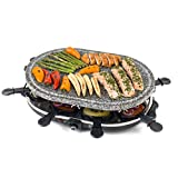 Giles & Posner EK1872G Raclette Grill 1200W | Non Stick Plates | Removable Stone Grill Hot Plate | 8 Persons | Adjustable Thermostat | 8 Raclette Pans and Spoons