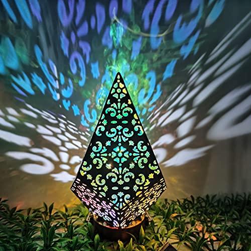 Linterna solar, Metal Bohemia Proyección Noche Luz de Hierro Forjado Lámpara Solar, Lámpara de Pie de la Lámpara de Diamante, Adecuado para la Decoración Interior y Exterior