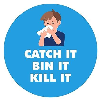 BIN IT KILL IT ANTI VIRUS PREVENT THE SPREAD WARNING STICKER SIGN CATCH IT