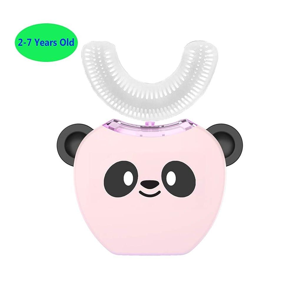 手首の間で変形子供のためのフルオートの電動歯ブラシ、360°超音波電動歯ブラシ、冷光、美白装置、自動歯ブラシ、ワイヤレス充電ドック,Pink,2/7Years