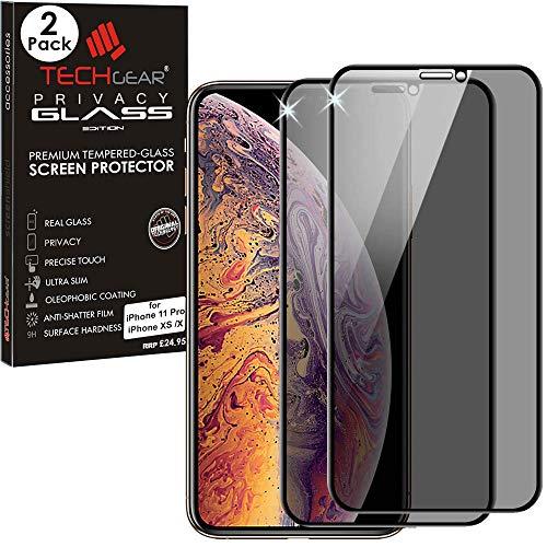 TECHGEAR [2 Piezas] Anti Espía Protector de Pantalla para iPhone 11 Pro, iPhone XS, iPhone X - PRIVACIDAD 3D Vidrio Edición Cobertura Completa Vidro Templado Compatible con Apple iPhone 11 Pro, XS, X