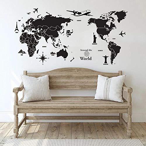 Faucet oersing Mapa del Mundo Alrededor del Mundo Vinilo Pared Arte calcomanía Papel Tapiz Dormitorio Sala de Estar TV Oficina Pared Pegatina 108x57cm