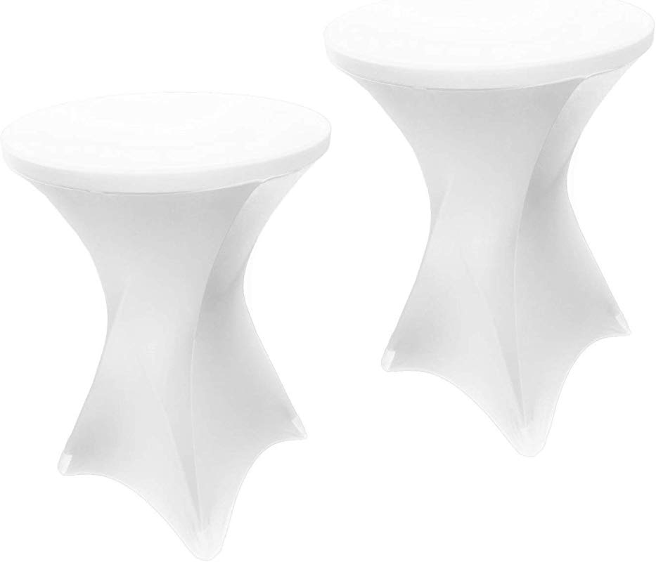 EL Event Linens 2 Pack Spandex Cocktail Table Cover Fitted High Top Table Cloth Stretch Tablecloth Covers For Cocktail Tables White