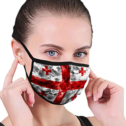 626 mannen en vrouwen mond gezichtsmasker voor hardlopen fietsen fietsen vlag Georgische geïsoleerd zwart Georgische rook Fla