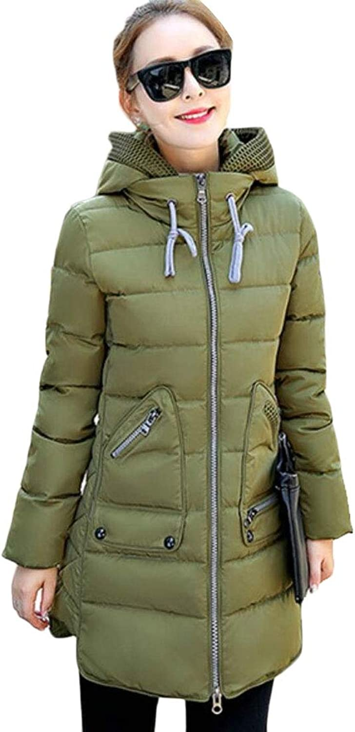 LEISHOP Women's Parka Jacket Quilted Down Outerwear with Removable Hood