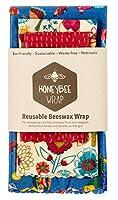 オーストラリア製 ミツバチ 蜜蝋 フードラップ アソート3パック 環境に優しい再利用可能な食品ラップ 持続可能なプラスチックフリー食品ストレージ - スモール1個、ミディアム1個、ラージ1個