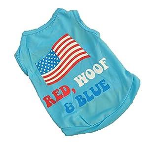 Puppy Pet T-shirts Vêtements pour chien Vêtements Gilet Le drapeau USA respirant de haute qualité Casual sans manches