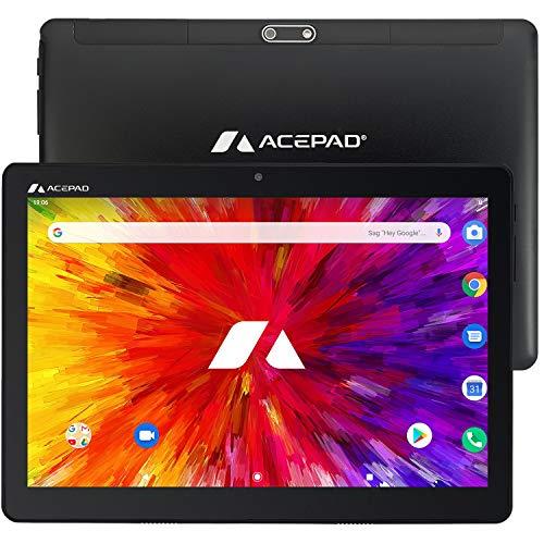 ACEPAD A130 Tablet 10,1 Zoll - Deutsche Marke - 4G LTE, 64GB Speicher, Octa-Core, Android 9.0 Pie, IPS HD, Wi-FI/Bluetooth/GPS - v2021 (Schwarz)