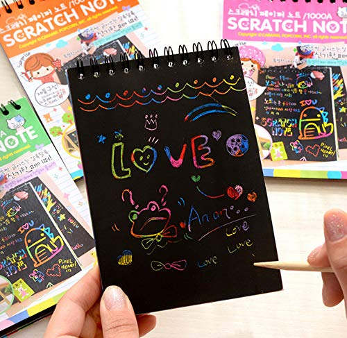 16 Pack Scratch Note Pads with 4 Different Colors Random Delivery, Drawing Notepads for Kids and Wooden Stylus with Each Note