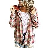 Mujer Blusa a Casual Blusa Manga Larga Blusa a Cuadros con Capucha Camisas de Mangas Largas y de con Botones Abajo Camisetas con Botones Check Shirt Camisas para Primavera Otoño Invierno