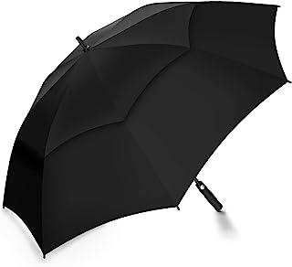 PENGDA Automatik Golf Regenschirm - 158 cm / 62 Zoll Groß Stockschirm GolfSchirme für Herren männer Familiengebrauch Robust Sturm geschützt durch Doppelkappe mit Windöffnung Schwarz