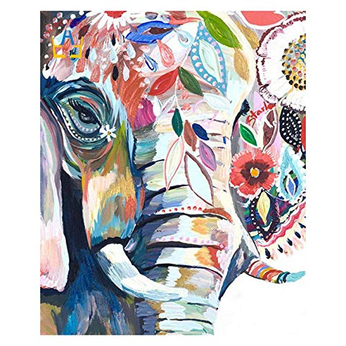 DIY 5D Diamante Pintura, Hermoso elefante colorido Crystal Full Diamond Rhinestone pintura por número Kit de punto de cruz bordado Craft Decoración del hogar -40x50cm