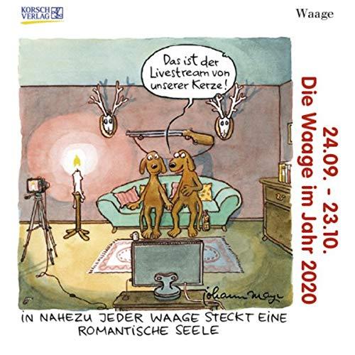 Waage Mini 2020: Sternzeichenkalender-Cartoon - Minikalender im praktischen quadratischen Format 10 x 10 cm.