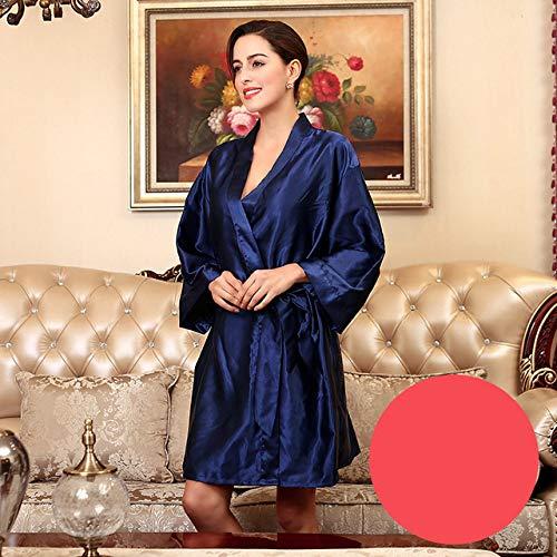 YRTHOR Albornoz Kimono de satén de Seda para Mujer, Bata de baño sólida de Dama de Honor hasta la Rodilla, Bata de Novia de Talla Grande para Ropa de Dormir de Boda,Navy,XL