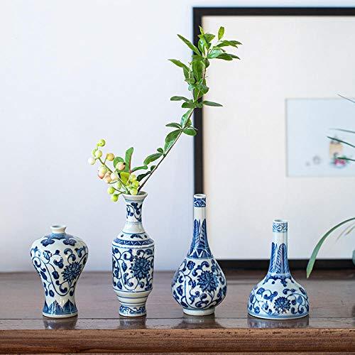 VBNHGF Ornamentos Estátuas Esculturas Azul e Branco Cerâmica Mesa Vaso Flor Vaso Pintado à Mão Ornamento Decorativo Presente-4_Vases_For_One_Set_As_Shown