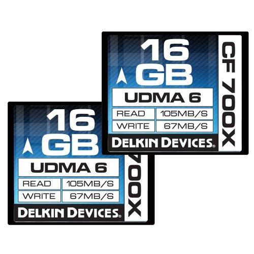 Delkin 16GB CF 700X UDMA 6 Memoria Flash CompactFlash - Tarjeta de Memoria (16 GB, CompactFlash, 105 MB/s, Negro)
