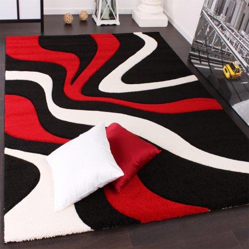 Paco Home Designer Teppich mit Konturenschnitt Wellen Muster Rot Schwarz Weiss, Grösse:160x230 cm