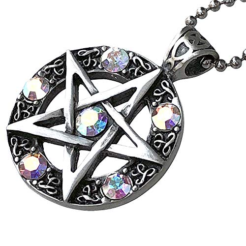 Wicca Jewelry Celtic Pentagram Pentacle Star AB Crystal Gem Wiccan Pagan Witch Magic Healing Protection Amulet Pewter Men's Women's Pendant Necklace Charm for Men Women Silver Ball Chain