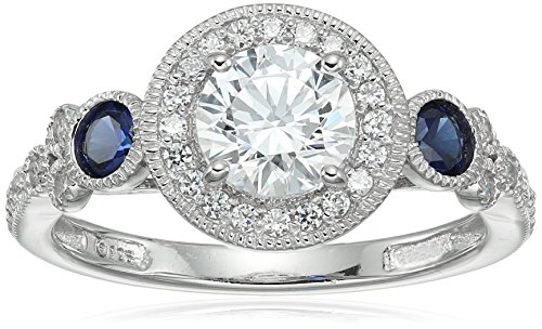 Platinum-Plated Sterling Silver Swarovski Zirconia Antique Round-Cut and Created Sapphire Ring size 6