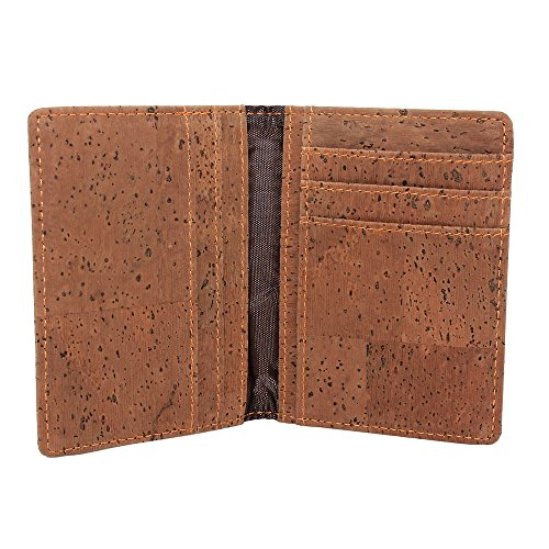 Billetera organizadora de tarjetas ecológica de Boshiho hecha de corcho, regalo único para veganos, color Marrón, talla Talla única