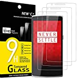 NEW'C 3 Unidades, Protector de Pantalla para OnePlus One, Antiarañazos, Antihuellas, Sin Burbujas, Dureza 9H, 0.33 mm Ultra Transparente, Vidrio Templado Ultra Resistente