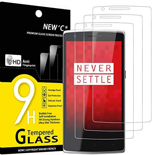 NEW'C 3 Pezzi, Vetro Temperato Compatibile con OnePlus One, Pellicola Prottetiva Anti Graffio, Anti-Impronte, Durezza 9H, 0,33mm Ultra Trasparente, Ultra Resistente