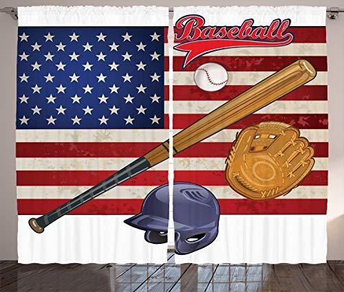 ABAKUHAUS amerikanisch Rustikaler Gardine, USA Flagge und Baseball, Schlafzimmer Kräuselband Vorhang mit Schlaufen und Haken, 280 x 260 cm, Mehrfarbig