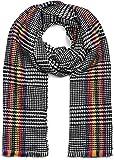 styleBREAKER suave chal de mujer con motivo de pata de gallo, coloridas rayas y deshilachados alrededor, invierno, estola, pañuelo 01017121, color:Negro-blanco