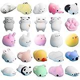GJK-SION 25 piezas lindas mini squishy Animal Squishies Kawaii juguetes suaves para apretar el estrés, juguetes de levantamiento lento para niños juguetes para aliviar el estrés para adultos